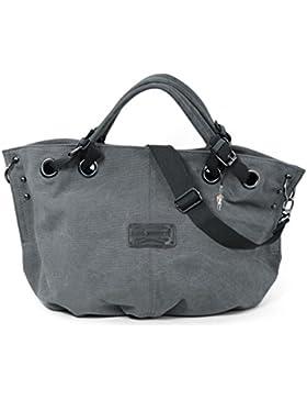Bag Street Damen Shopper Handtasche Schultertasche Beutel Canvas 4530, Farbe:Grau