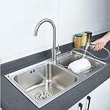 Kitchen Sink Edelstahl gebürstet Große Doppelwaschbecken Home Waschbecken Becken Perfekter Abfluss Küchenspülen