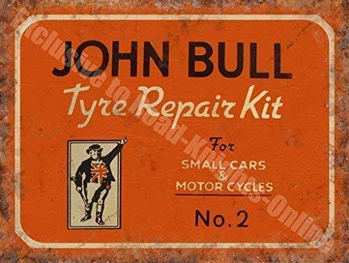RKO John Bull Vecchio Vintage Garage Motore Riparazione Pneumatici Auto e Moto Inglese Vintage Garage Metallo/Acciaio Insegna - 20 x 30 cm