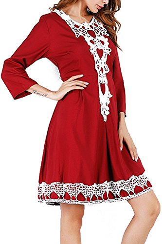 YACUN Femmes Les 3 / 4 Des Manches Lace Swing Cocktail Robe red