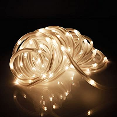 Solar LED Rope Lights, Ksleder® 10m 32.8ft 100LED Waterproof Fairy String Outdoor Decoration Lighting, 10 Hours Working Time, for Garden Home Walkway Deck Step Holiday Christmas Wedding Party Effect Light(Warm white) by Olymstore EU