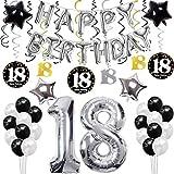 sancuanyi 18ème Bon Anniversaire Décorations Argent,Bannière de Happy Birthday Ballon,Argent '18',Tourbillons Suspendus, Fournitures de Fête Parfaites pour 18 Ans for Girls and Boy
