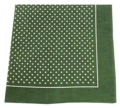 Tobeni 548 Bandana Kopftuch Halstuch Nickituch in 100 Baumwolle für Damen und Herren Farbe kleine Punkte Grün Grösse 54 cm x 54 cm
