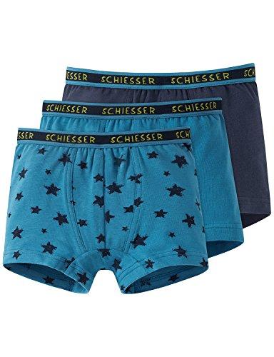 Schiesser Jungen Boxershorts Multipack 3pack Hip Shorts 3er Pack, Mehrfarbig (Sortiert 1 901), 128 (Jungen Boxershorts)