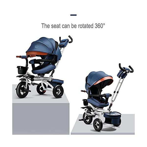 GSDZSY - Luxury 4 IN 1 Foldable Children Tricycle Stroller,360° Swivel Seat,With Detachable Push Rod And Awning,Seat And Handlebars Can Be Adjusted,Luxury Comfort Seat,18-60 Months,Blue_1A GSDZSY ❀ Material: High carbon steel + ABS + Rubber wheel, suitable for children from 1- 6 years old, maximum load 50 kg ❀ Features: The push rod can be adjusted heights; the seat can be rotated 360 to facilitate communication between mother and baby; adjustable parasol for different weather conditions ❀ Performance: high carbon steel frame, stronger and stronger bearing capacity; Rubber wheel is non-slip wearable suitable for all kinds of road conditions, seat is made of breathable fabric, baby ride is more comfortable 2