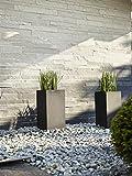 Esteras 8520622602 2-teiliges Blumenkübel-Set, Rechteckig, 67 und 47 cm, Fiberglas, Schwarz, Deventer
