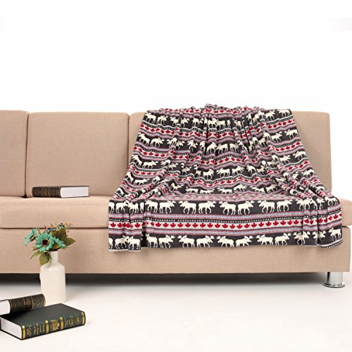 COSMOZ Fleece Blanket / Sofa Throw - Large Fluffy Bedspread 150x200 cm with Deer Animal Design - Cuddly, Warm, Soft and Perfect as a Gift
