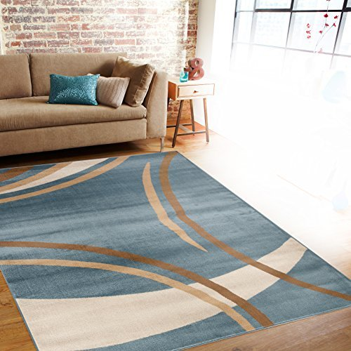 Rug Decor Contemporary Modern Wavy Circles Area Rug, 2' by 3', Blue by Rug and Decor