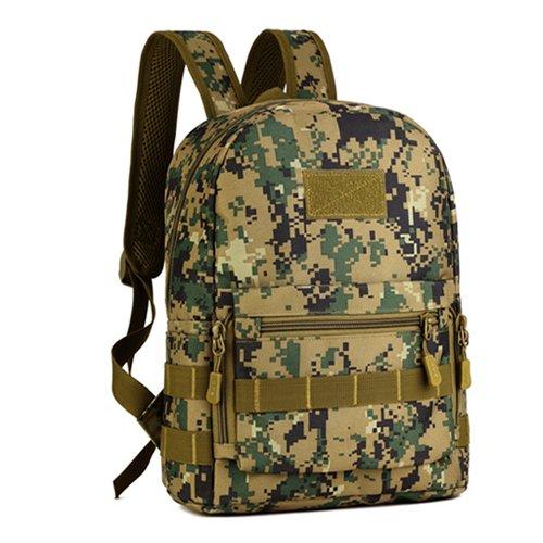 Camouflage Schulter Tasche Tasche, Schulranzen für Jungen und Mädchen, wasserdichte Outdoor Sport Freizeit Reisen taktische Armee Fan Pack, Armee, grünen Dschungel digital
