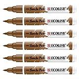 Royal Talens–EcoLine liquide aquarelle Brosse Pen–Lot de 6- Sepia - 416