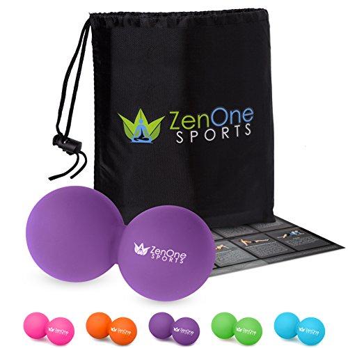 Faszienball ZenBall Duo mit Gratis E-Book, Tasche & Einstiegsguide I Mini Faszienrolle Wirbelsäule I Foam Roller Set I Faszienroller Doppelball (Violett)
