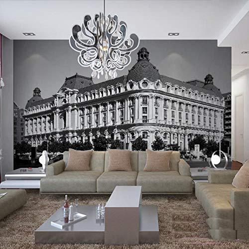 3d wall mural tv sfondo carta da parati 3d foto murales in bianco e nero stile europeo murales architettura murales-270cm(w) x180cm(h)