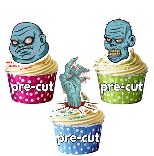 Vorgeschnittene Halloween Zombieköpfe Mix - Essbare Cupcake Topper / Kuchendekorationen (12 Stück)