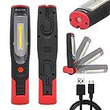 ENUOTEK USB Akku 3W LED Arbeitslampe Werkstattleuchte Taschenlampe Inspektionsleuchte LED mit Magnet und Zwei Haken, Hohe Helligkeit 300Lm und 2200mAh Lithium ionen Akku