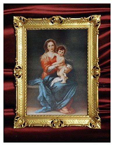 Wunderschönes Repro Barock Antik Look gerahmtes Gemälde mit Ornamentverziehrungen in Den Rahmen montiert Motiv Jesus Maria 2 Ikonen Bild Repro 90x70cm (Gold)