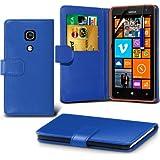 (Blau) Nokia Lumia 625 Schutzfolie Faux Credit / Debit Card Leder Book Style Tasche Skin Case Hülle Cover, Aus- und einfahrbarem Touchscreen Stylus Pen & LCD-Screen Protector Guard von Spyrox