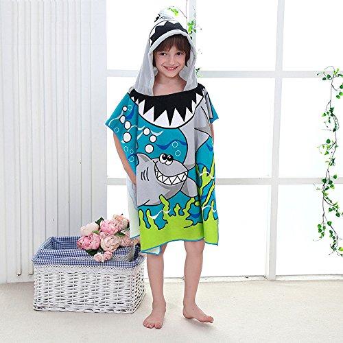 Addfun®Mikrofaser Kinder Karikatur Mit Kapuze Badetuch Saugfähig Kinder Bademantel Schnelles Trocknen Strand Schwimmendes Handtuch(Wal)