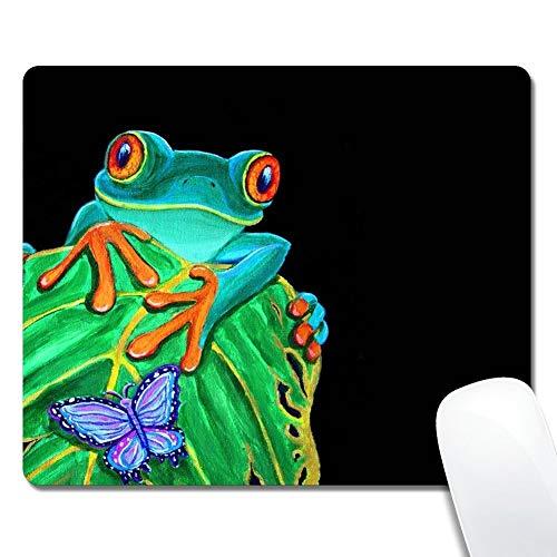 Tappetino per mouse rettangolo personalizzato, raganella dagli occhi rossi e pittura a farfalla, tappetino per mouse da gioco in gomma antiscivolo, tappetino per mouse resistente e confortevole con motivo elegante