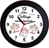 Lucky Clocks DRILLINGE Geburt Wanduhren für Jeden Anlass mit jeder Beschriftung und Jedem Vornamen Namen erhältlichen