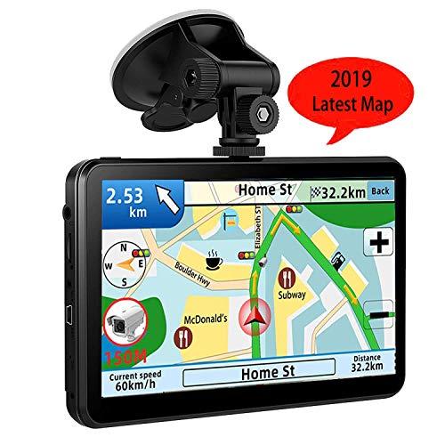 GPS Navi Navigation für Auto LKW PKW KFZ,7 Zoll Navigationsgerät 8GB 256MB Lebenslang Kostenloses Kartenupdate POI Blitzerwarnung Sprachführung Fahrspurassistent 2019 EU UK 52 Karten (Gps-navigation Auto Für)