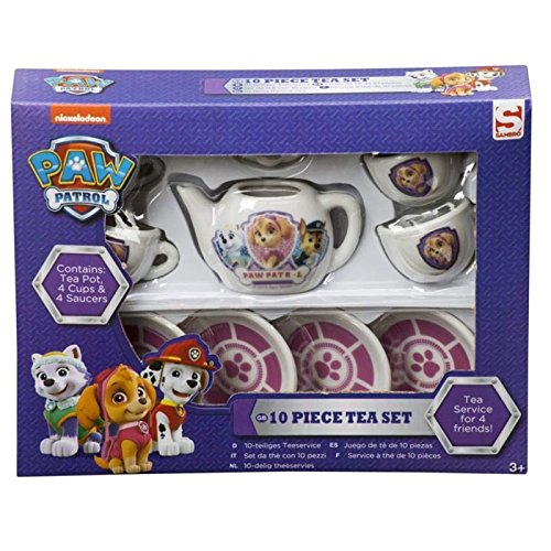 Paw Patrol 10teiliges Puppenservice aus Keramik - Teekanne Tassen und Unterteller