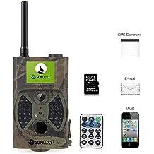 """SUNLUXY® Caméra de Chasse Surveillance Vidéo avec Ecran LCD 2,0"""" HD / GSM / MMS / GPRS / SMS Recorder Observation Imperméable Niveau Etanche IP54 Nature Animal 12MP 8 Go SD Carte IR-CUT Vision Nocturne Camouflage"""