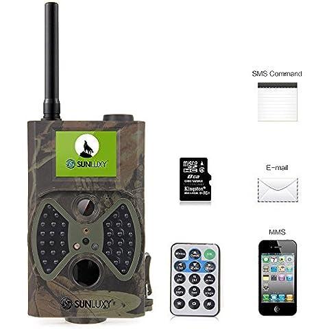 SUNLUXY® HC-300M Cámara de Caza 12MP HD con GSM/MMS/GPRS/SMS Pantalla TFT de 2 pulgadas Seguimiento infrarrojos Digital + Tarjeta SD de