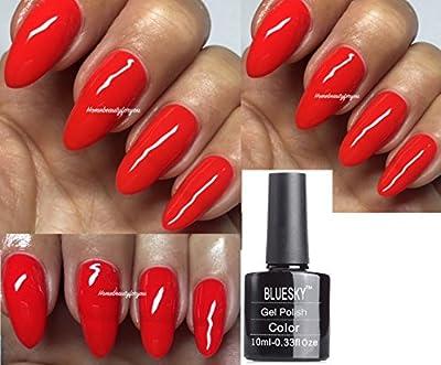 Bluesky Kiss Me Red Special Edition Bright Red Nail Gel Polish UV LED Soak Off 10ml PLUS 2 Homebeautyforyou Shine Wipes
