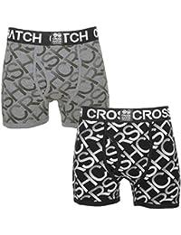 Crosshatch Homme 'Equalizer' Pack de 2 Logo Imprimer Boxer