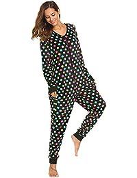 ADOME Damen Fleece Jumpsuit Muster Einteiler Overall Strampelanzug Reißverschluss Hausanzug