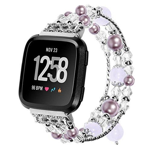 Voberry Armband, Luxus Sport Perlen Armband Armband für Fitbit Versa (Lila)