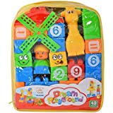 KEI India's Learning Blocks For Kids With Cartoon Figures, Bag Packing, Best Gift Toy, Multicolor (40 Blocks)