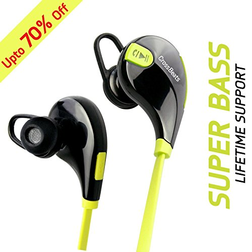 CrossBeats Aura Bluetooth 4.1 Lightweight Wireless Sports Headphones with Microphone for iPhone, iPad, Samsung and Android Smartphone - Green/Black