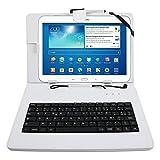 Etui aspect cuir blanc + clavier intégré AZERTY (français) pour tablettes Samsung...