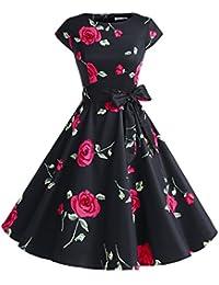 Dressystar Damen Vintage 50er Cap Sleeves Dot Einfarbig Rockabilly Swing Kleider Schwarz mit Rot Blumen S