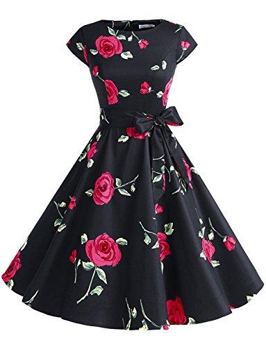 tage 50er Cap Sleeves Dot Einfarbig Rockabilly Swing Kleider Schwarz mit Rot Blumen XL (Blume Kostüm Für Frauen)