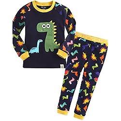 Vaenait baby conjunto de pijama para niños de 1a 7 años. Pijama 100% de algodón con diseño de dinosaurio azul azul marino 2_ Años