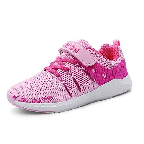 ZOSYNS Kinder Schuhe Sportschuhe Mädchen Ultraleicht Atmungsaktiv Turnschuhe Klettverschluss Low-Top Sneakers Laufen Schuhe Laufschuhe Rosa 33