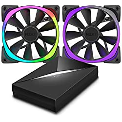 NZXT Aer RGB120 120 mm RGB LED Fan with HUE Controller - Black (Pack of 2)