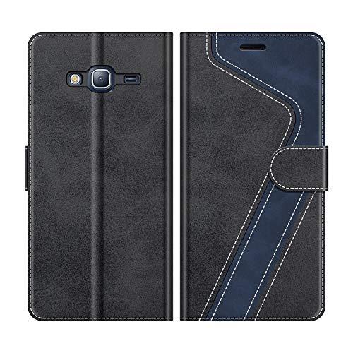 MOBESV Handyhülle für Samsung Galaxy J3 2016 Hülle Leder, Samsung Galaxy J3 2016 Klapphülle Handytasche Case für Samsung Galaxy J3 2016 Handy Hüllen, Modisch Schwarz