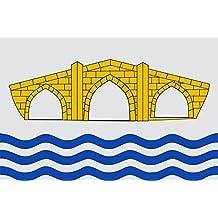 magFlags Bandera Large Proporciones 2 3. Sobre fondo de plata tres ondas de azul al tercio inferior | bandera paisaje | 1.35qm | 90x150cm