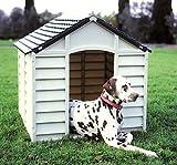 Grand Niche pour chien Pet en plastique très résistant Abri d'extérieur en plastique résistant–Couleur Beige/crème