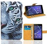 Sony Xperia M2 Handy Tasche, FoneExpert Wallet Case Flip Cover Hüllen Etui Ledertasche Lederhülle Premium Schutzhülle für Sony Xperia M2