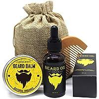 Kit de cuidado de la barba para hombre – 4 piezas, peine de barba + bálsamo natural de barba (30 g) + aceite de barba (30 ml) + bolsa de viaje, juego ideal para el hogar y viaje