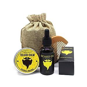 Bartpflege Set Für Männer – 4 Teilig, Bartkamm + Natürliche Bart Balsam Conditioner (30g) + Bartöl (30ml) + Canvas Bag, Perfekte Geschenk Set