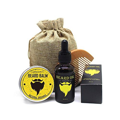 Bartpflege Set Für Männer - 4 Teilig, Bartkamm + Natürliche Bart Balsam Conditioner (30g) + Bartöl (30ml) + Canvas Bag, Perfekte Geschenk Set