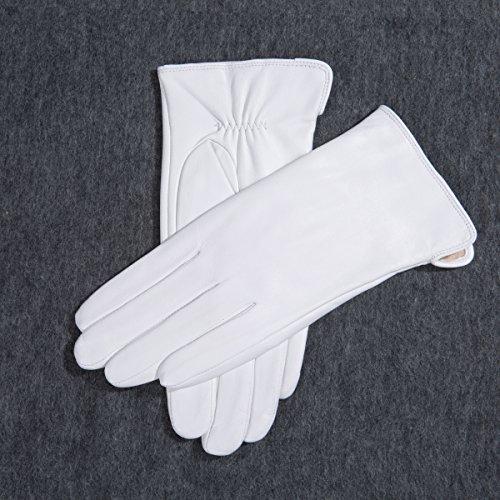 MATSU simple design femmes hiver chaud gants en cuir d'agneau m90227couleurs - White-Non TouchScreen