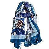 Hyy Scarf Linda Bufanda De Viento para Mujer Otoño E Invierno Versión Coreana del Azul Salvaje Tucán Acuarela Piña Párrafo Largo Mantón De Doble Uso Femenino