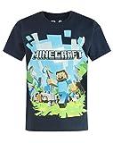 Minecraft Gaming T-Shirt für Kinder Adventure lizenziert Baumwolle dunkelblau bequemer Schnitt - 152