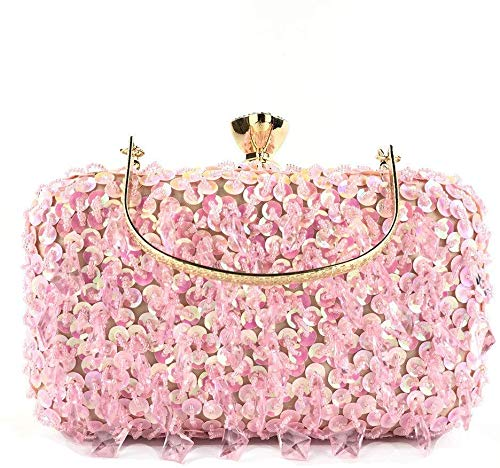 Bag Blatt Abendclutch Geldbeutel-Handhandgefertigte Perlen Pailletten Damen Damenhygieneprodukte abnehmbare Kette Riemen Plain wasserdicht Polyester (Color : Pink)